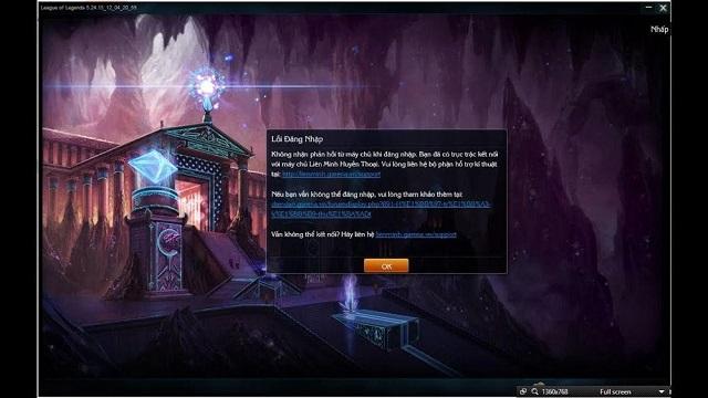 lỗi đăng nhập LOL không nhận phản hồi từ máy chủ