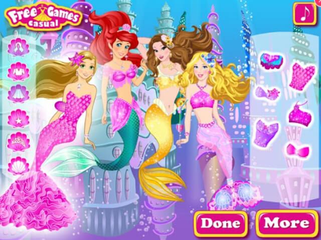 game các nàng công chúa disney hóa thân thành nàng tiên cá